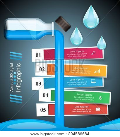 Business Infographics origami style Vector illustration. Bottle, water, drink icon