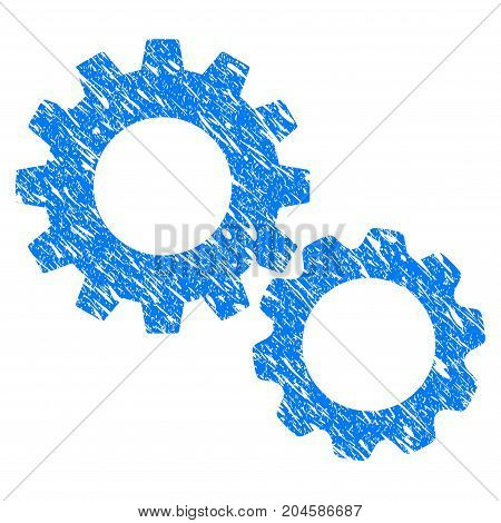 Grunge Gears icon with grunge design and dust texture. Unclean vector blue gears pictogram for rubber seal stamp imitations and watermarks. Draft sticker symbol.