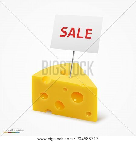 Triangular piece of cheese sale frame. Vector illustration art