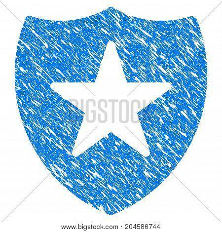 Grunge Guard Shield icon with grunge design and scratched texture. Unclean vector blue guard shield pictogram for rubber seal stamp imitations and watermarks. Draft sign symbol.