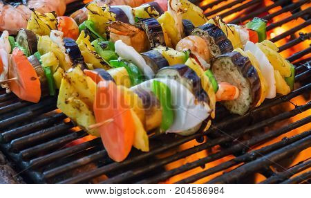Kebab Vegetables Cooked Spicy Skewers