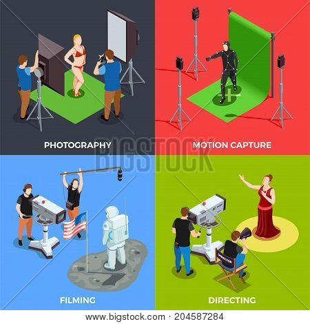 Isometric cinematograph 2x2 design concept with working process of photographer operator director and actors isolated on colorful backgrounds 3d vector illustration