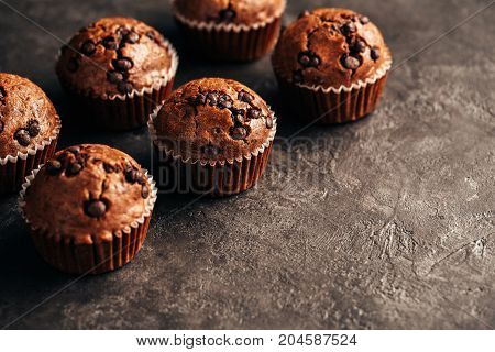 Chocolate Muffin with Chocolate Chips. Food background wiht copyspace.