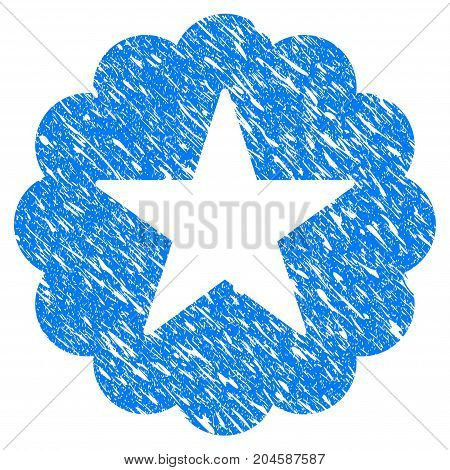 Grunge Star Quality Sticker icon with grunge design and unclean texture. Unclean vector blue star quality sticker pictogram for rubber seal stamp imitations and watermarks. Draft sticker symbol.