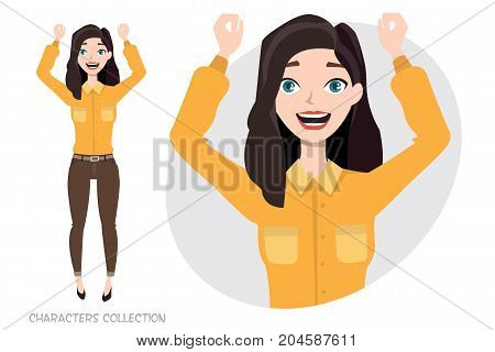 Beautiful young woman rejoices and happy. Portrait of a girl, who loved it. Modern trendy woman in casual sports style.