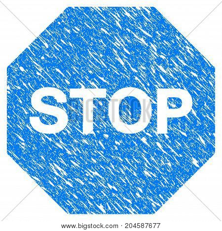 Grunge Stop Sign icon with grunge design and dust texture. Unclean vector blue stop sign pictogram for rubber seal stamp imitations and watermarks. Draft sticker symbol.