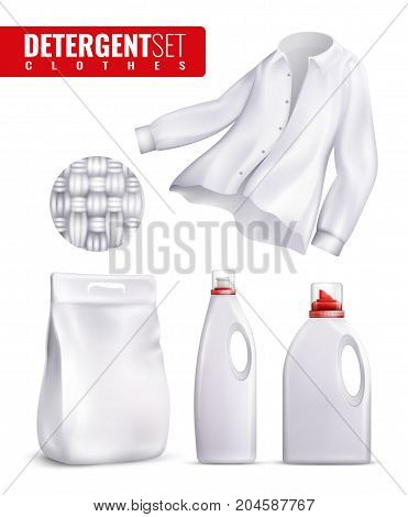 White detergents clothes icon set with laundry detergent and fabric softener bottles vector illustration