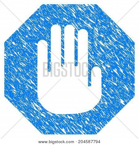 Grunge Terminate icon with grunge design and dirty texture. Unclean vector blue terminate pictogram for rubber seal stamp imitations and watermarks. Draft emblem symbol.