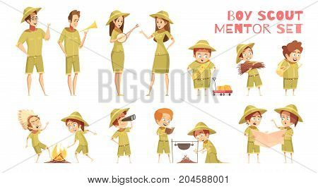 Mentors guiding boy scouts orienteering with map outdoor camp activities retro cartoon icons series isolated vector illustration