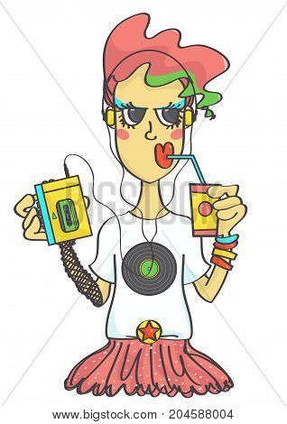 Cute retro girl in eighties outfit style with portable cassette player listening to music, colorful vector cartoon isolated on white background