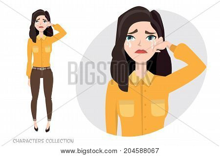 Woman Crying. Exhausted Woman. Woman in depression. Vector illustration