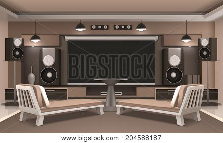 Modern home cinema interior with acoustic system, screen, couches with cushions and round table 3d vector illustration