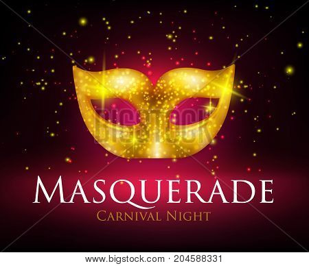 Beautiful sparkling golden carnival mask on dark background realistic vector illustration