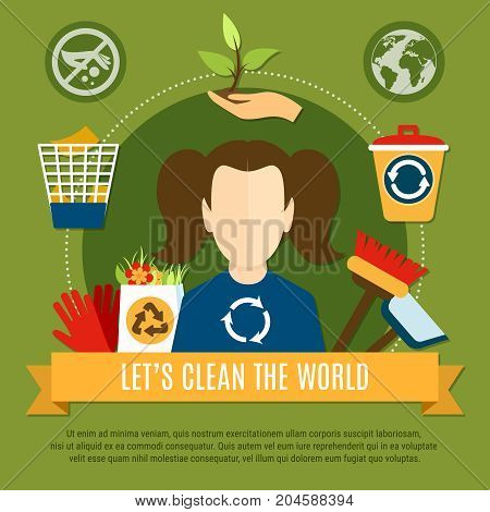 Garbage composition of flat waste recycling conceptual icons pictograms and faceless charwoman character with editable text vector illustration