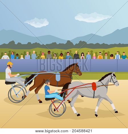Harness racing flat composition with jockeys and horses, spectators behind fence on natural landscape background vector illustration