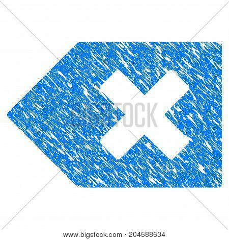 Grunge Backspace icon with grunge design and unclean texture. Unclean vector blue backspace pictogram for rubber seal stamp imitations and watermarks. Draft emblem symbol.