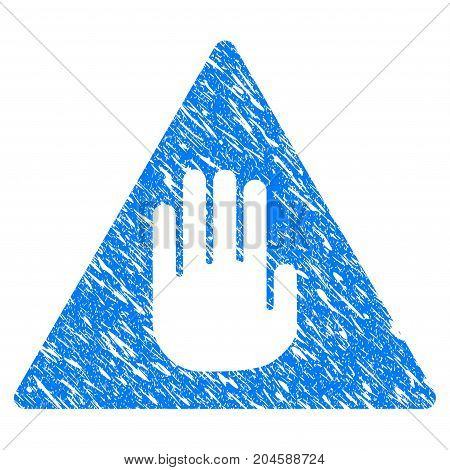 Grunge Caution icon with grunge design and scratched texture. Unclean vector blue caution pictogram for rubber seal stamp imitations and watermarks. Draft sign symbol.