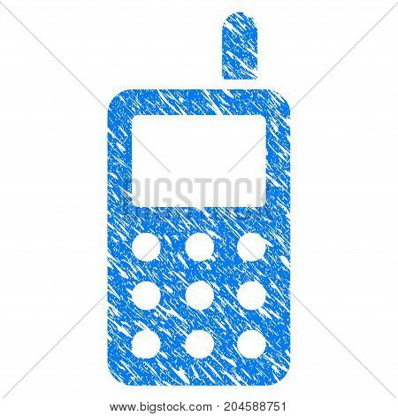 Grunge Cell Phone icon with grunge design and scratched texture. Unclean vector blue cell phone pictogram for rubber seal stamp imitations and watermarks. Draft emblem symbol.