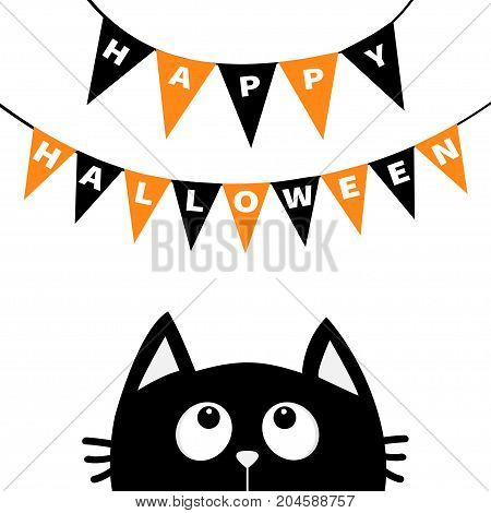 Black cat face head silhouette looking up to Bunting flags letters Happy Halloween. Flag garland. Party decoration element. Hanging text on rope thread. Flat design. White background. Vector