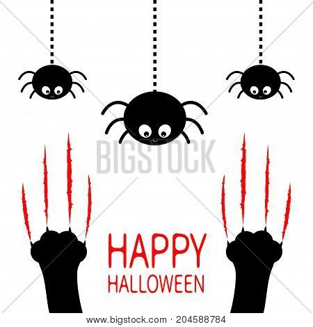 Happy Halloween. Red bloody claws animal scratch scrape track. Black cat scratching paw leg foot set. Hanging spider. Cute cartoon character silhouette. Baby pet. Flat design. White background Vector