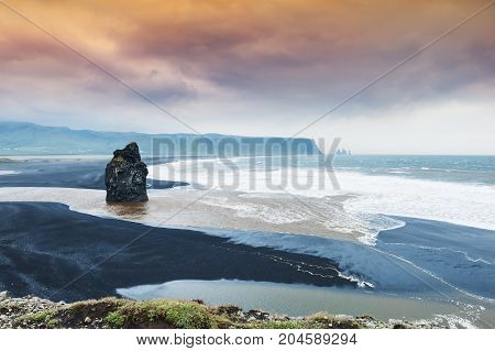 Reynisfjara Beach With Black Volcanic Sand, Iceland