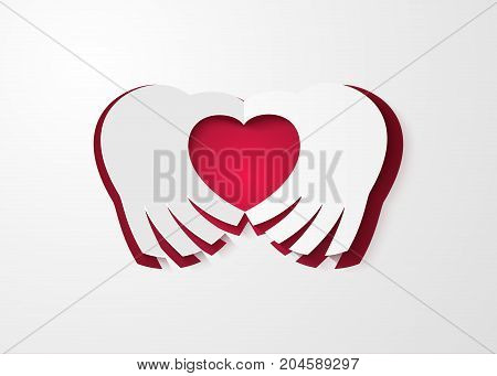 Vector illustration of Valentines day. Abstract paper hearts.