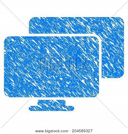 Grunge Computers icon with grunge design and scratched texture. Unclean vector blue computers pictogram for rubber seal stamp imitations and watermarks. Draft sign symbol.