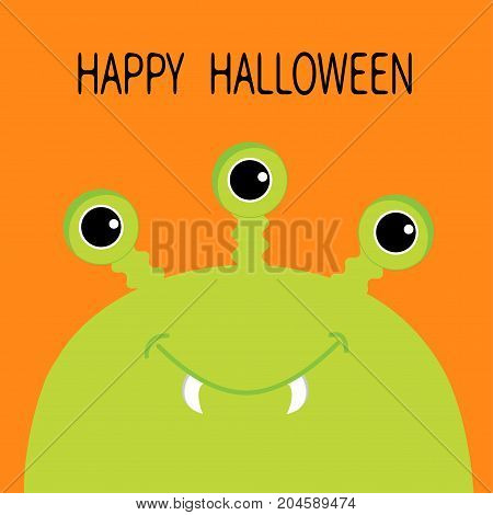 Happy Halloween card. Monster head silhouette with three eyes fang tooth. Green color. Funny Cute cartoon character. Baby collection. Isolated. Flat design. Orange background. Vector illustration