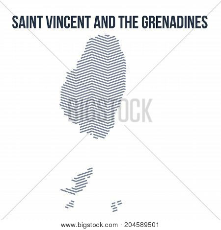 Vector Abstract Hatched Map Of Saint Vincent And The Grenadines With Zig Zag Lines Isolated On A Whi