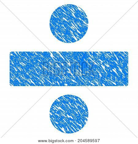 Grunge Divide Math Operation icon with grunge design and scratched texture. Unclean vector blue divide math operation pictogram for rubber seal stamp imitations and watermarks. Draft emblem symbol.