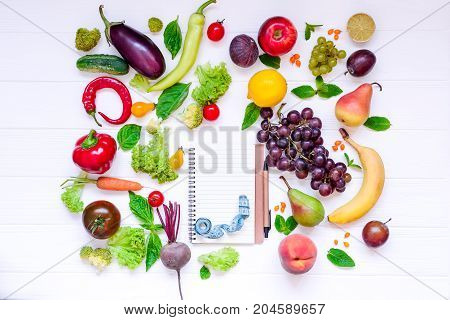 Healthy Food, Diet Eating, Detox Background - Different Fruits And Vegetable, Empty Open Notebook, A