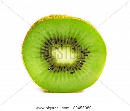 Close up of kiwi slice isolated over white background Fresh green kiwi slice isolated