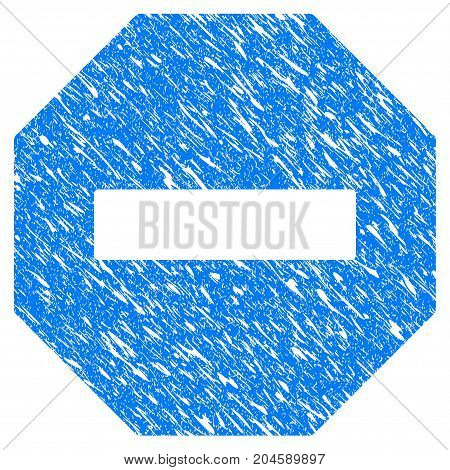 Grunge Forbidden Octagon icon with grunge design and unclean texture. Unclean vector blue forbidden octagon pictogram for rubber seal stamp imitations and watermarks. Draft emblem symbol.