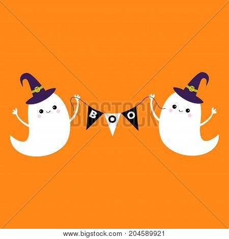 Flying ghost spirit holding bunting flag Boo. Witch hat. Happy Halloween. Two scary white ghosts. Cute cartoon spooky character. Smiling face hands Orange background Greeting card Flat design. Vector