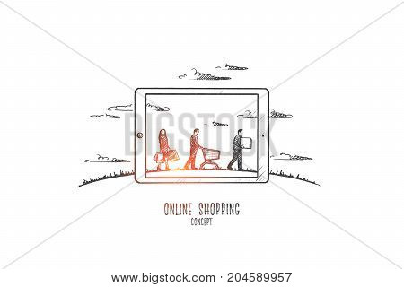 Online shopping concept. Hand drawn people buying goods in internet. Online shopping with modern device isolated vector illustration.