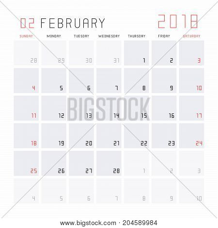 Planning calendar February 2018 Monthly scheduler. Week starts on Sunday.