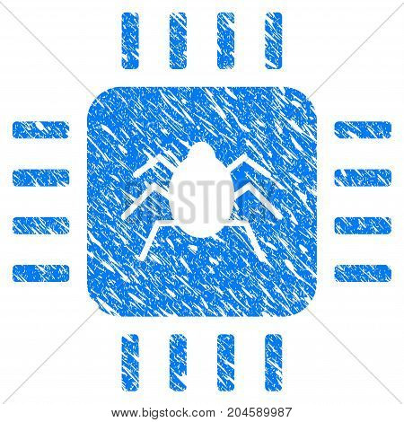 Grunge Hardware Bug icon with grunge design and scratched texture. Unclean vector blue hardware bug pictogram for rubber seal stamp imitations and watermarks. Draft emblem symbol.