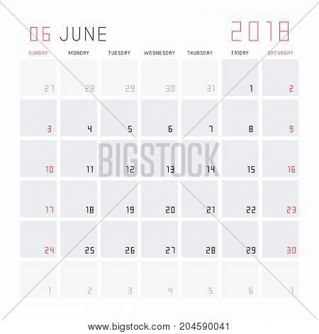 Planning calendar June 2018 Monthly scheduler. Week starts on Sunday.