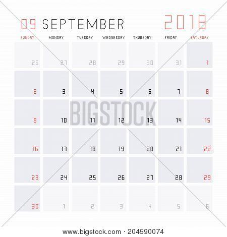 Planning calendar September 2018 Monthly scheduler. Week starts on Sunday.