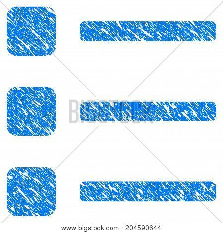 Grunge Items icon with grunge design and scratched texture. Unclean vector blue items pictogram for rubber seal stamp imitations and watermarks. Draft sign symbol.