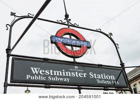 London - August 23, 2017: London Underground Sign