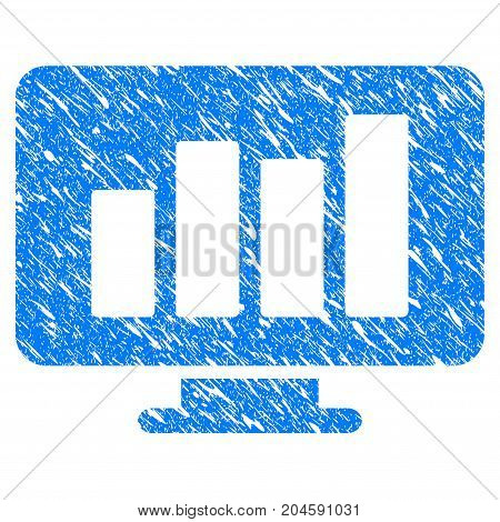 Grunge Monitor icon with grunge design and dirty texture. Unclean vector blue monitor pictogram for rubber seal stamp imitations and watermarks. Draft emblem symbol.