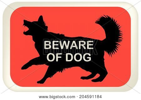 BEWARE OF DOG sign with dog silhouette