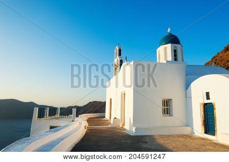 White Church On Santorini Island, Greece