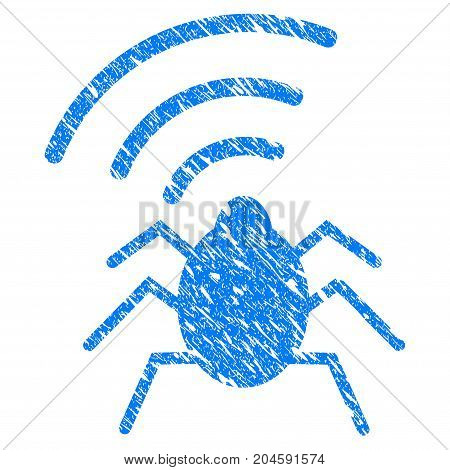 Grunge Radio Bug icon with grunge design and dirty texture. Unclean vector blue radio bug pictogram for rubber seal stamp imitations and watermarks. Draft emblem symbol.