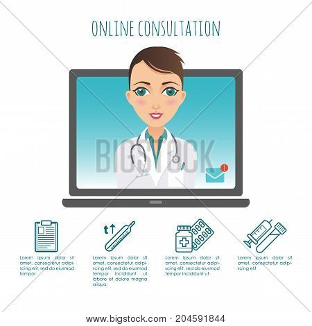 Vector infographic. Online healthcare diagnosis and medical consultant. Vector infographic. Web or mobile application. Medical service. For your design