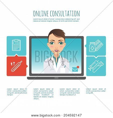 Online healthcare diagnosis and medical consultant. Web or mobile application. Vector infographic. For your design