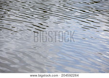 Water reflection on a lake. Wave movement. Nature background. Horizontal
