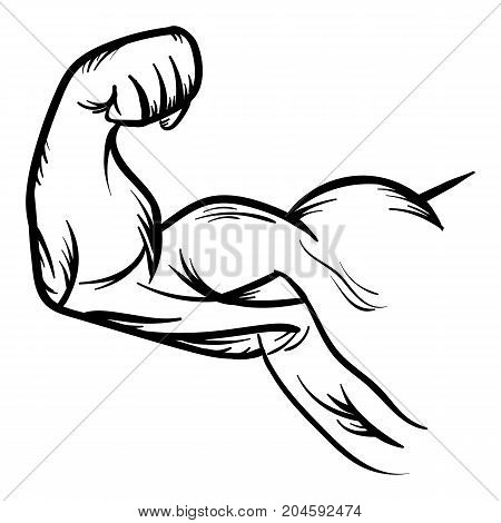 Strong Bodybuilder Biceps Flex Arm Vector Icon Strong macho biceps gym flexing hand vector icon isolated on white background
