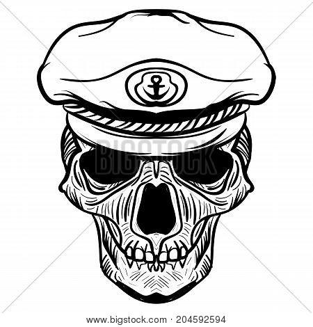 Vintage naval Skull drawing and captain hat. tattoo sketch sailor skull